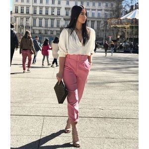 Zara Pink High Rise Belted Trousers Pants Size XS